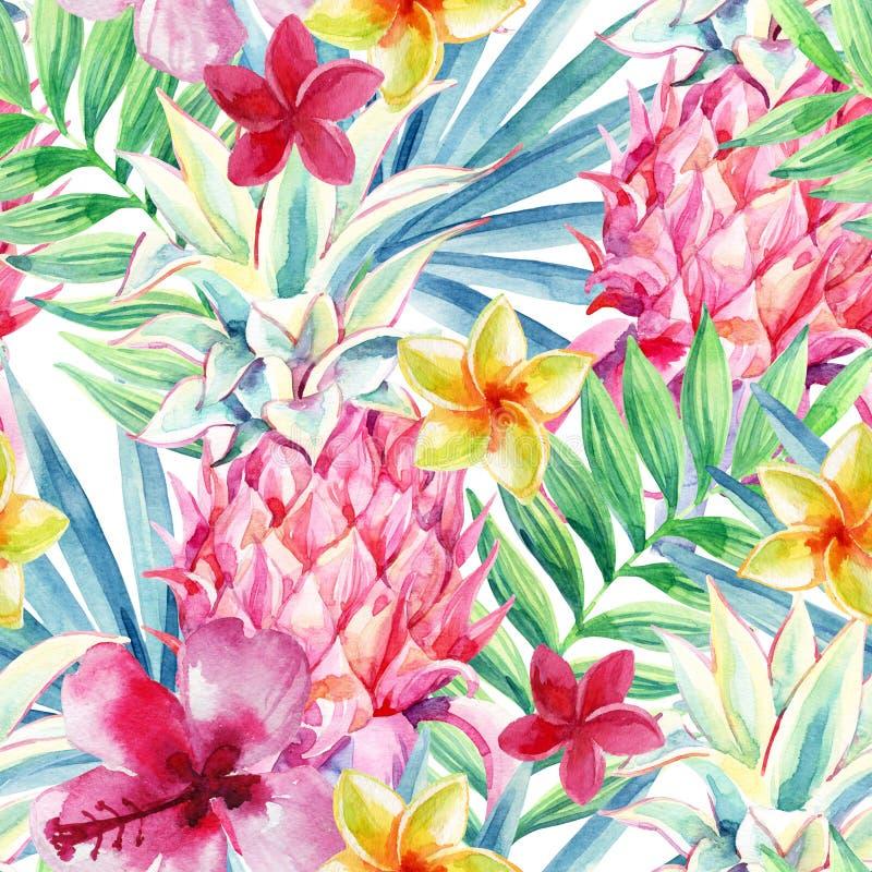 Watercolor pineapple fruit seamless pattern royalty free illustration