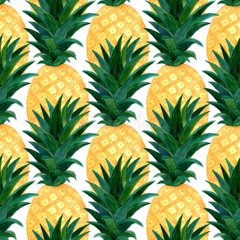 Watercolor pineapples pattern. Repeating texture with realistic pineapple on white background. Fashion summer wallpaper design.  stock illustration