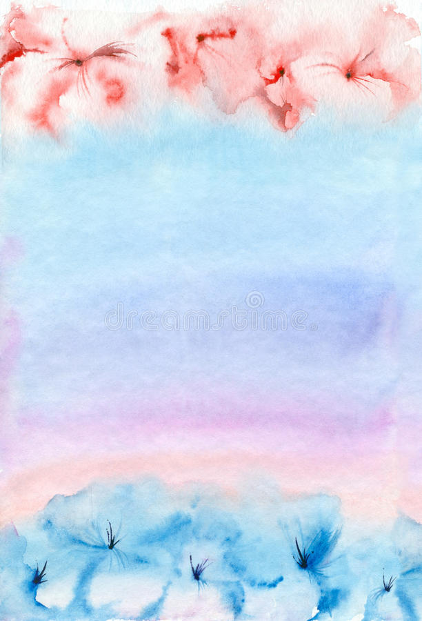 Watercolor pink-blue background. royalty free illustration