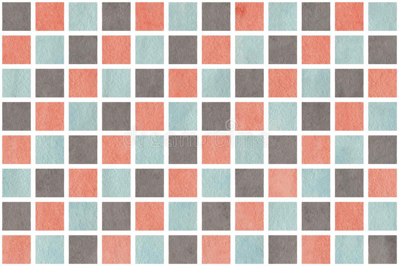 Watercolor pink, blue and grey squares. Watercolor background. Pink, blue and grey watercolor texture. Watercolor geometric pattern royalty free illustration