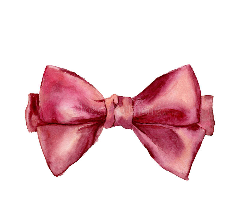 Watercolor pink bow. Hand painted gift bow isolated on white background. Party or greeting object stock illustration