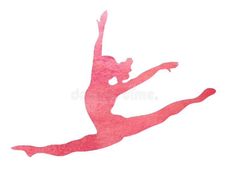 Watercolor Pink Dancer Dance Gymnast Gymnastics Split Leap illustration. A pink watercolor gymnast, dance, Gymnastics, dancer doing a split leap illustration vector illustration