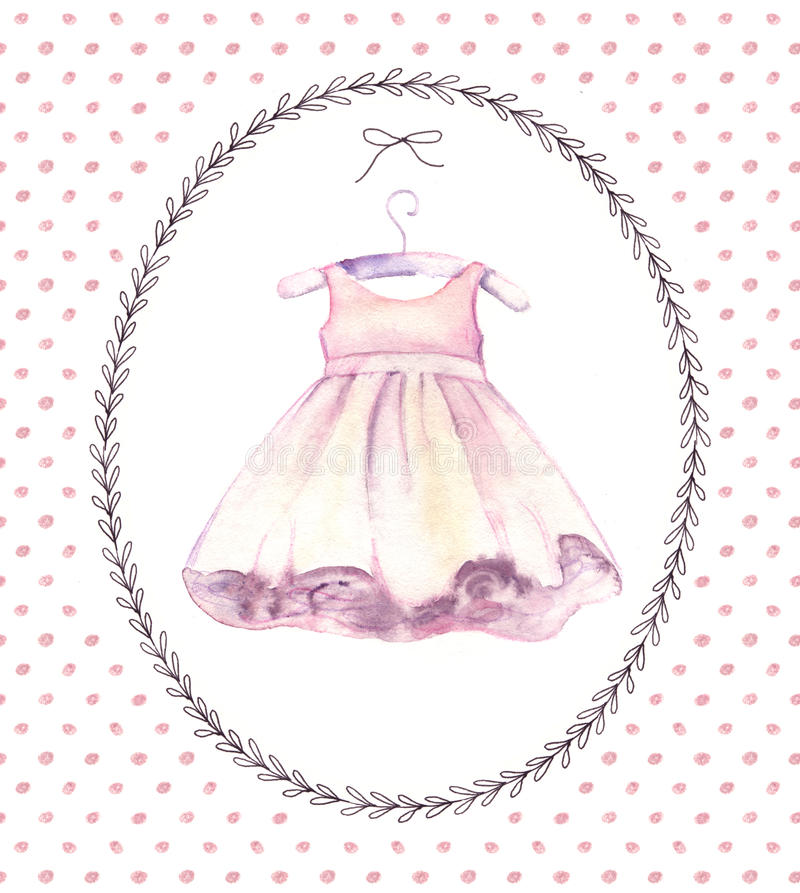 Watercolor pink dress for little girl. Hand-painted birthday card stock illustration