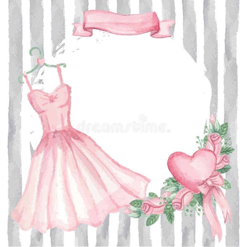 Watercolor pink dress, roses decor,ribbon,strips. Cute retro Card.Watercolor pink dress on hanger, roses group,grunge badge,ribbon.Hand drawn doodle sketchy stock illustration