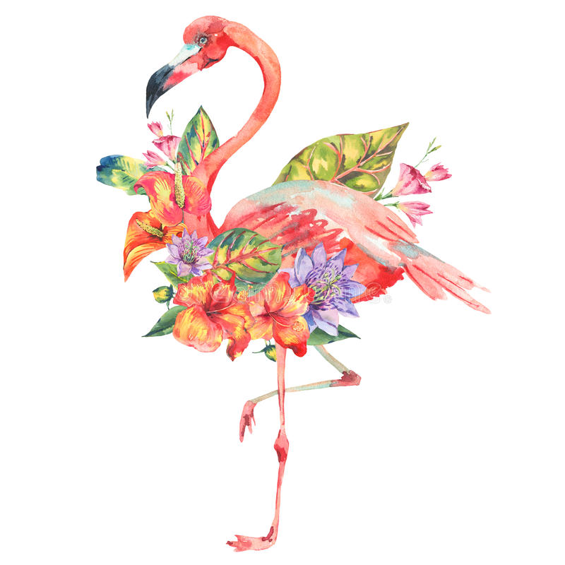 Watercolor pink flamingo and tropical flowers stock illustration