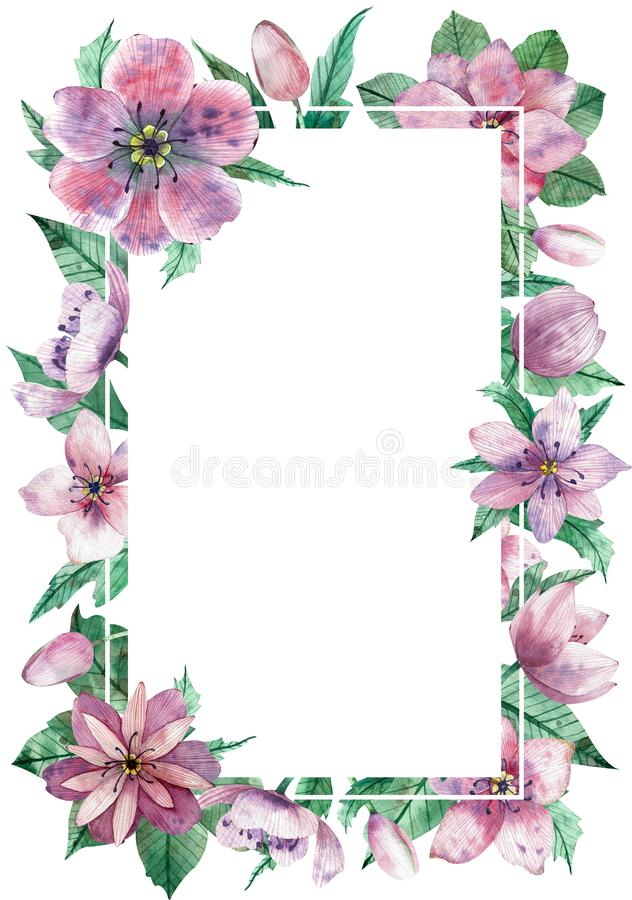 Watercolor pink floral vertical frame with the central white copy space for text. Decorative christmas rose vector illustration