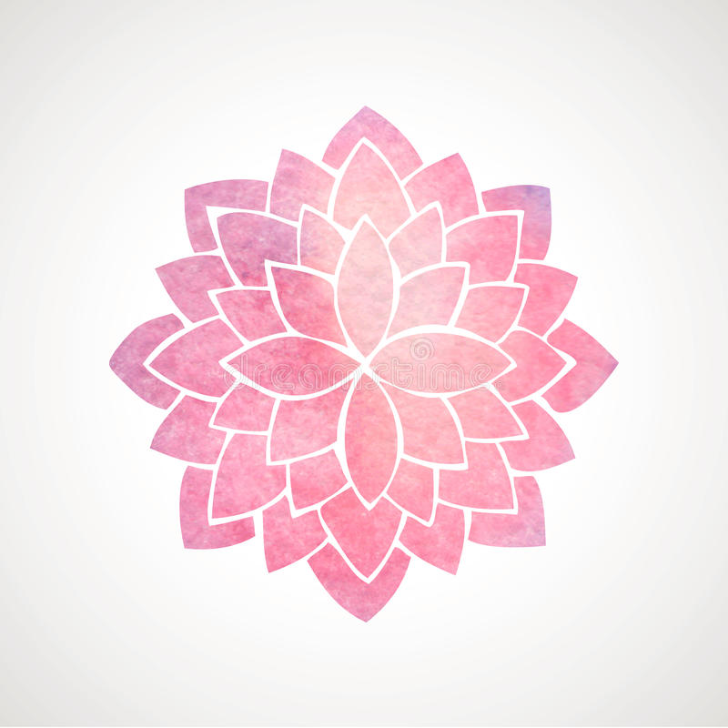 Watercolor pink flower pattern. Silhouette of lotus. Mandala stock illustration