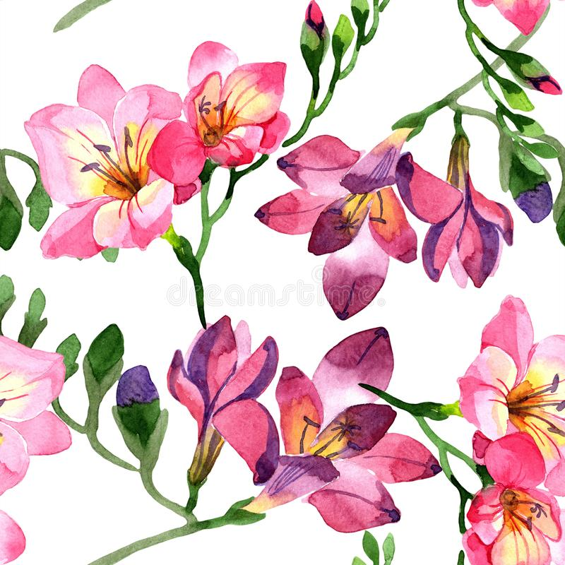 Watercolor pink freesia flower. Floral botanical flower. Seamless background pattern. Fabric wallpaper print texture. Aquarelle wildflower for background vector illustration