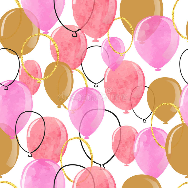 Watercolor pink and glittering gold balloons seamless pattern. stock illustration