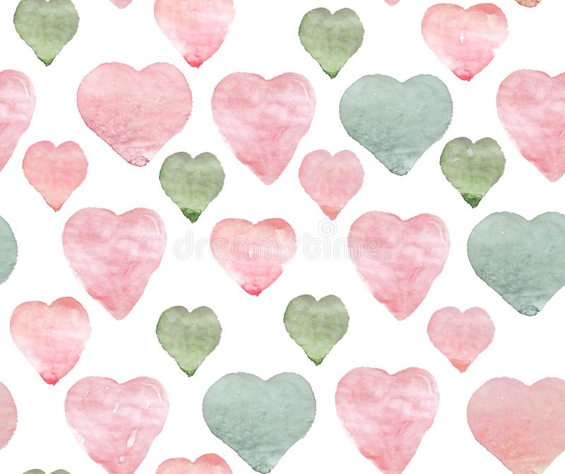 Watercolor pink green hearts on white background. Hand made seamless pattern. Watercolor hearts on white background. Pink green Seamless pattern for wedding card royalty free stock photo