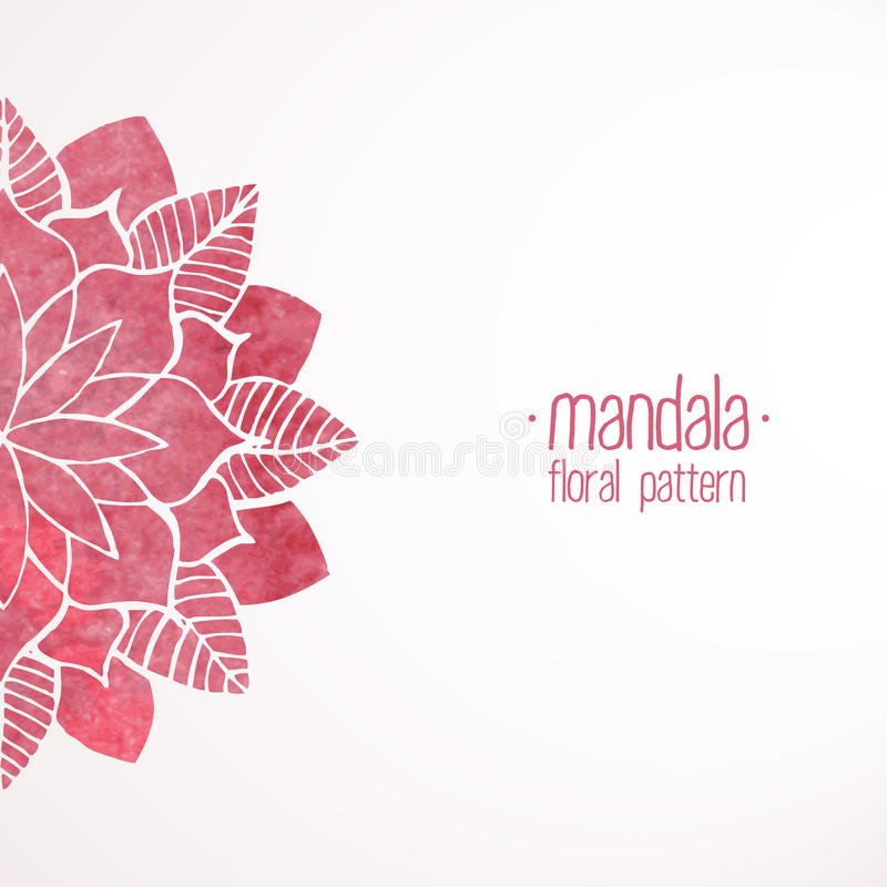 Watercolor pink lace floral pattern on white background vector illustration