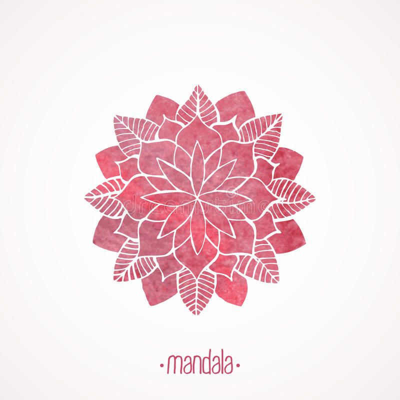 Free Watercolor Pink Lace Pattern. Vector Element. Mandala Stock Photography - 52701552