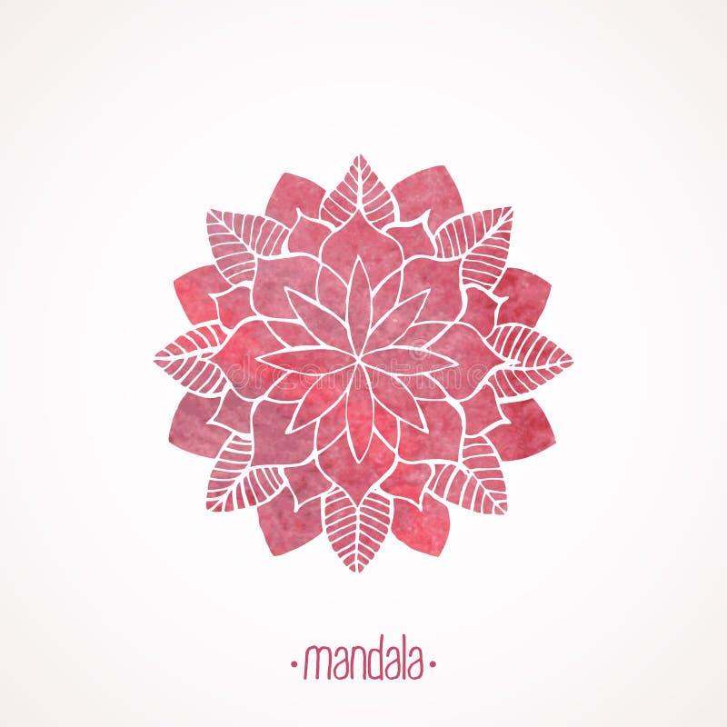 Watercolor pink lace pattern. Vector element. Mandala royalty free illustration