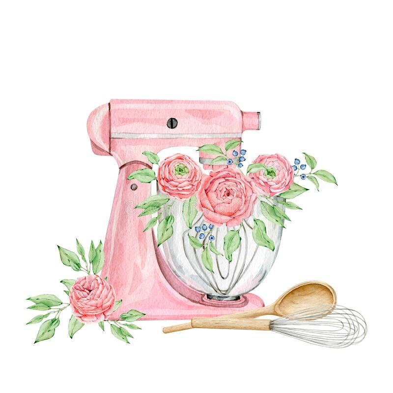 Free Watercolor Pink Mixer For Creating Diy Bakery Logo Royalty Free Stock Photo - 197067385