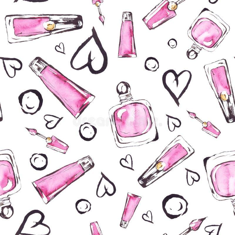 Watercolor pink perfume bottles fashion pattern stock illustration