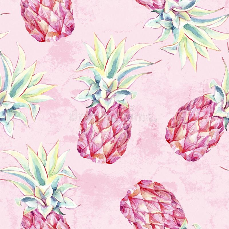 Watercolor pink pineapples on grunge background. Artistic tropical fruit seamless pattern stock illustration
