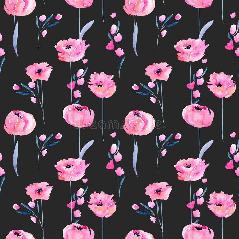 Free Watercolor Pink Poppies And Floral Branches Seamless Pattern Royalty Free Stock Photos - 107027508