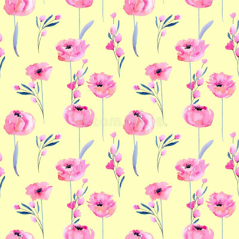 Free Watercolor Pink Poppies And Floral Branches Seamless Pattern Stock Photography - 107027772