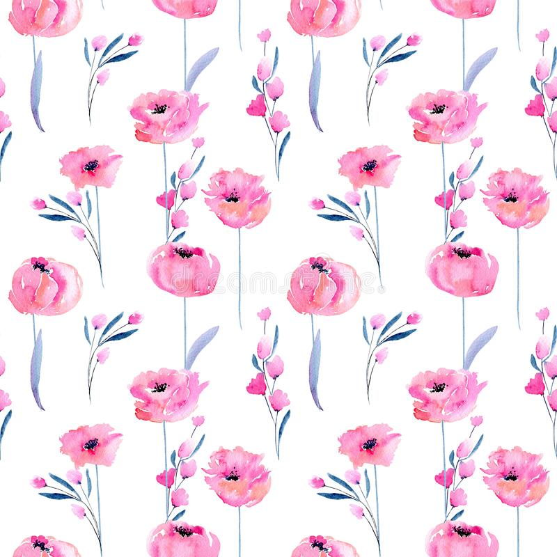 Free Watercolor Pink Poppies And Floral Branches Seamless Pattern Royalty Free Stock Photo - 107028215