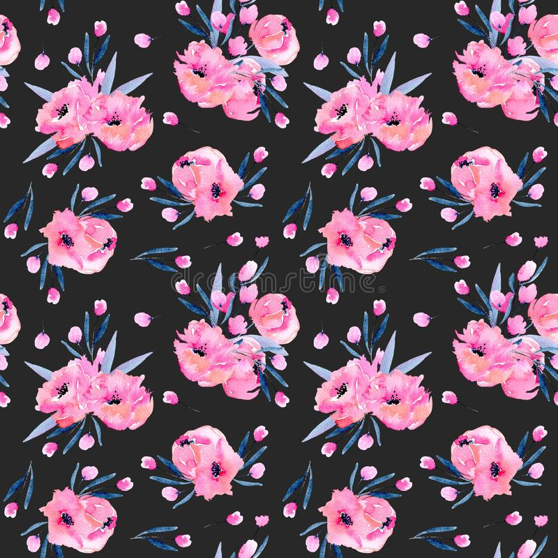 Free Watercolor Pink Poppies Bouquets Seamless Pattern Royalty Free Stock Image - 107027626