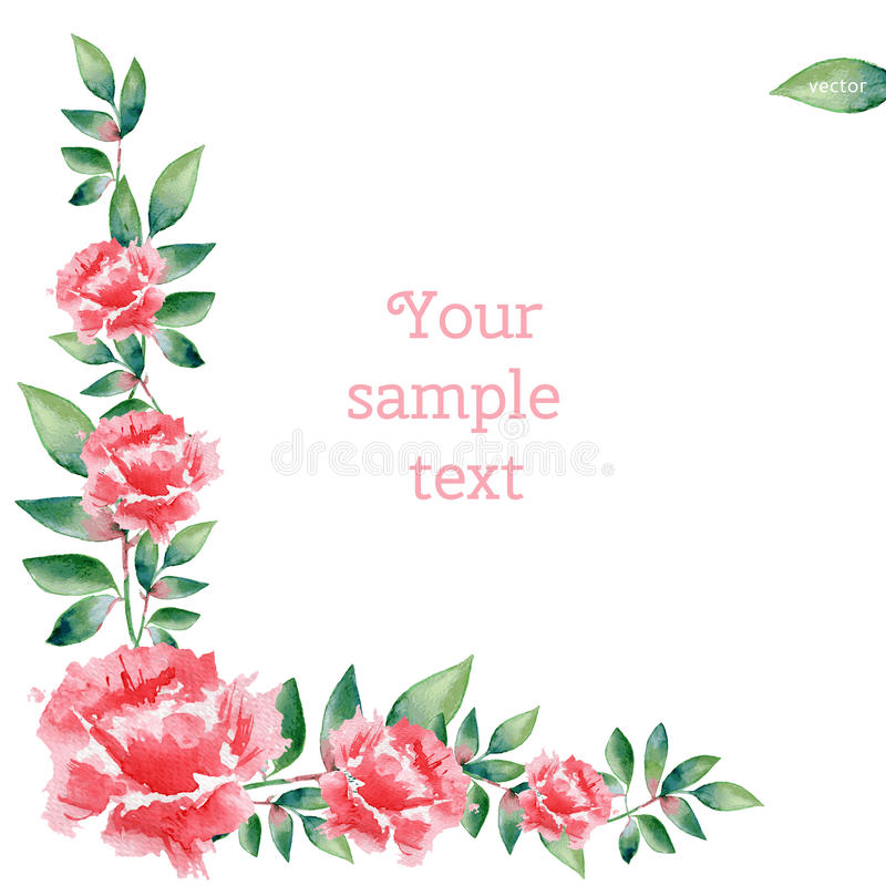 Watercolor pink rose flower hand drawn vector illustration isolated on white background, decorative border, floral frame. For design greeting card, wedding vector illustration