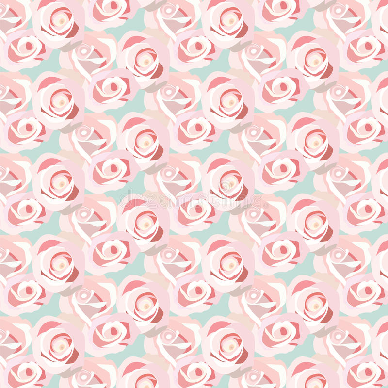 Watercolor Pink Rose pattern. Vector rose flowers pattern stock illustration