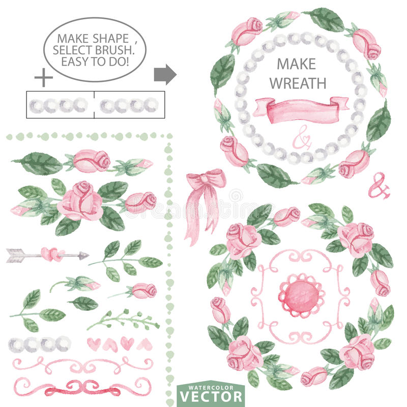 Watercolor pink roses decor brushes and wreath template vector illustration