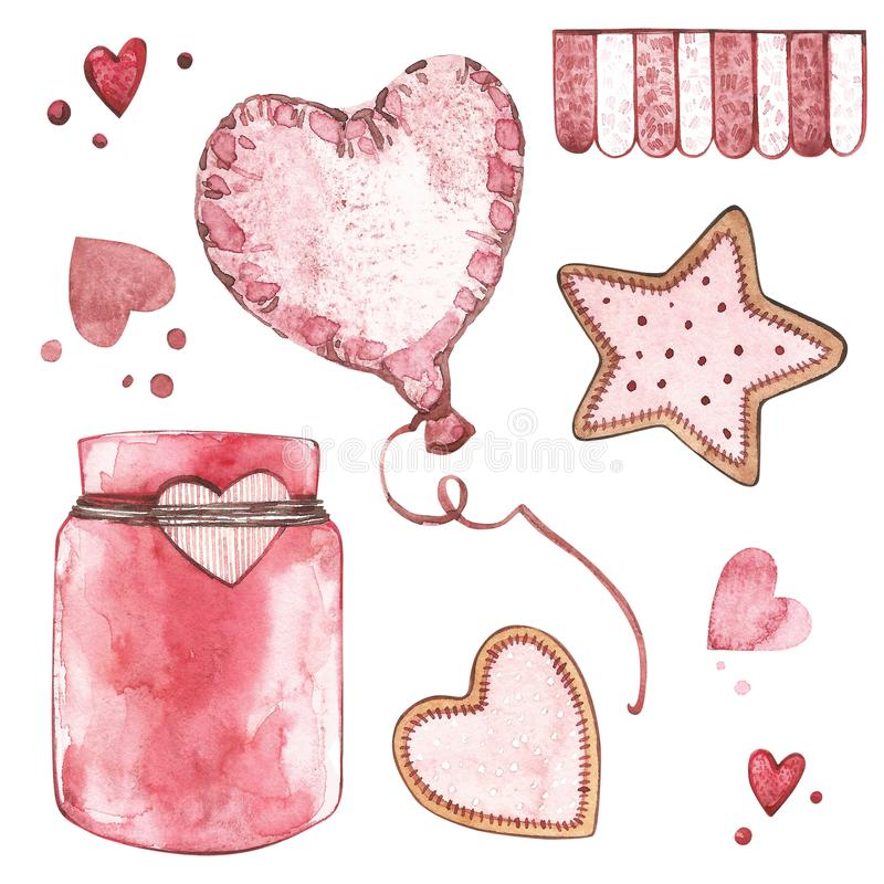 Watercolor pink set of elements for Valentine`s day. Scrapbook design elements. Typography poster, card, label, banner. Design set vector illustration