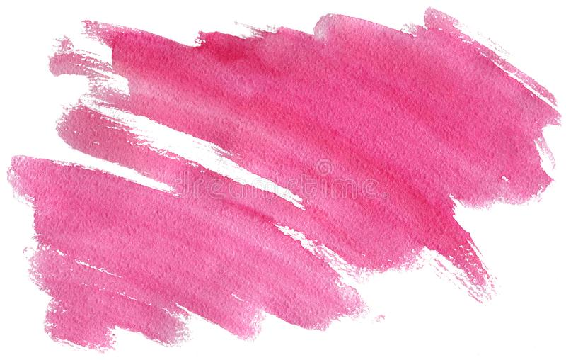 Watercolor pink stroke with brush`s texture isolated on white, minimalistic hand-painted illustration. Watercolor pink stroke with brush`s texture isolated on stock illustration