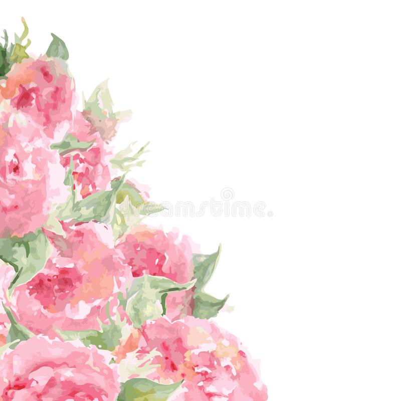 Watercolor pink tea rose peony flower floral composition frame background temple isolated vector.  vector illustration