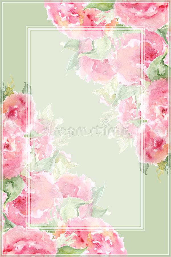 Watercolor pink tea rose peony flower floral composition frame border temple background.  royalty free illustration