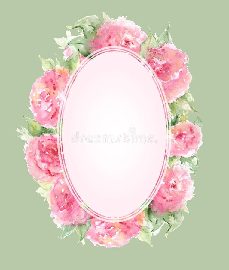 Watercolor pink tea rose peony flower floral composition frame border template background.  vector illustration