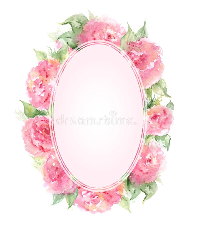 Watercolor pink tea rose peony flower floral composition frame border template background isolated art.  royalty free illustration