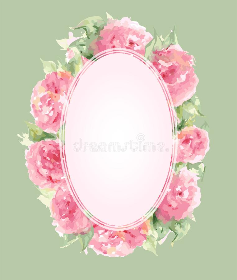 Watercolor pink tea rose peony flower floral composition frame border template background vector.  vector illustration