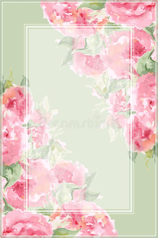 Watercolor pink tea rose peony flower floral composition frame border temple background vector.  stock illustration