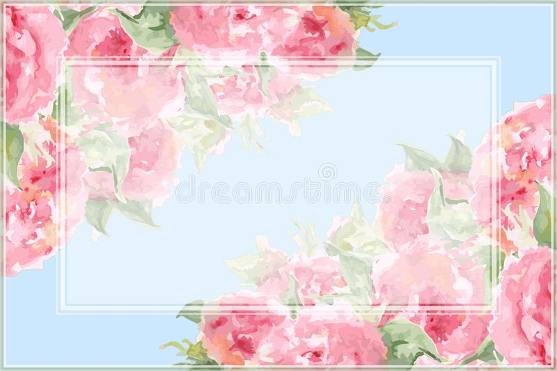 Watercolor pink tea rose peony flower floral composition frame border temple background vector.  royalty free illustration