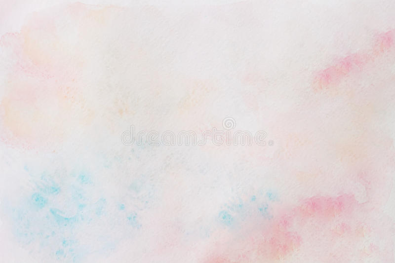 Watercolor pink and turquoise abstract hand painted background with drawing paper texture stock photos