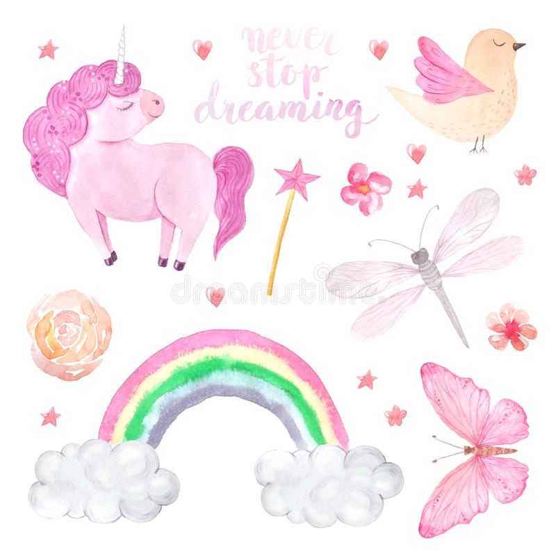 Watercolor pink unicorn illustration set. Watercolor cute set of unicorn, bird, butterfly and rainbow illustration isolated inspired by baby fairytales. Magic stock illustration