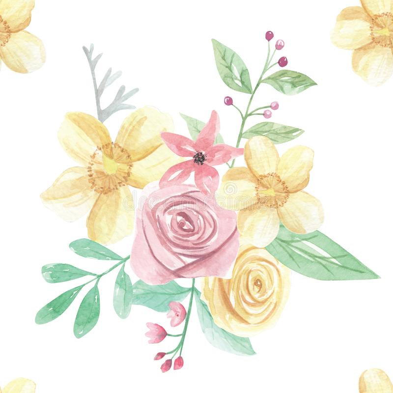Watercolor pink yellow flower wedding spring summer seamless pattern download watercolor pink yellow flower wedding spring summer seamless pattern stock illustration illustration of floral mightylinksfo