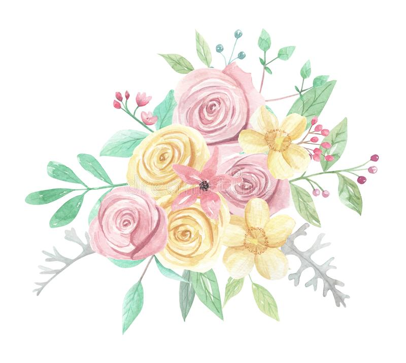 Watercolor Pink Yellow Roses Berries Flowers Spring Summer Wedding Floral Bouquet. Watercolor pink and yellow roses and flowers - pastel colors - pretty bouquet royalty free illustration