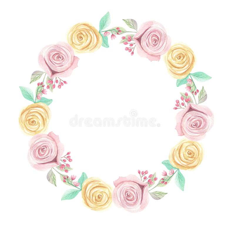 Watercolor Pink Yellow Roses Berries Flowers Spring Summer Wedding Floral Wreath Garland. Watercolor pink and yellow roses and flowers - pastel colors - pretty royalty free illustration