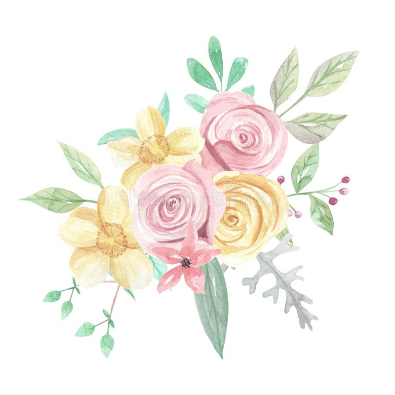 Watercolor Pink Yellow Roses Berries Flowers Spring Summer Wedding Floral Bouquet. Watercolor pink and yellow roses and flowers - pastel colors - pretty bouquet vector illustration