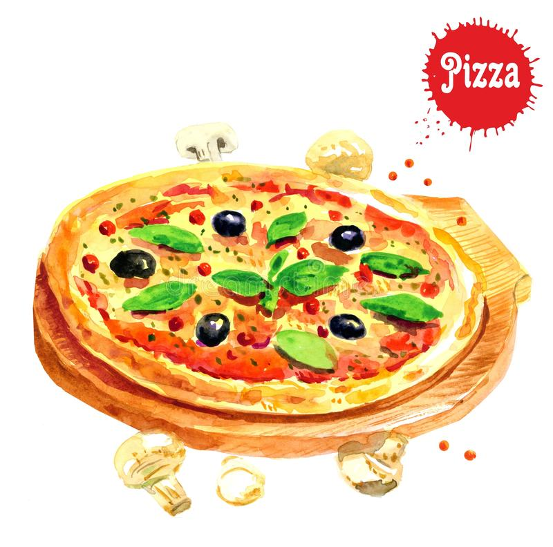 Watercolor Pizza on white background. Hand drawn illustration. In a rustic style. Isolated royalty free illustration