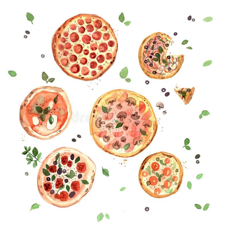 Watercolor pizzas hand drawn, margarita, pepperoni, italian food, italian kitchen. Watercolor pizzas hand drawn, margarita, pepperoni, four cheeses, italian food vector illustration