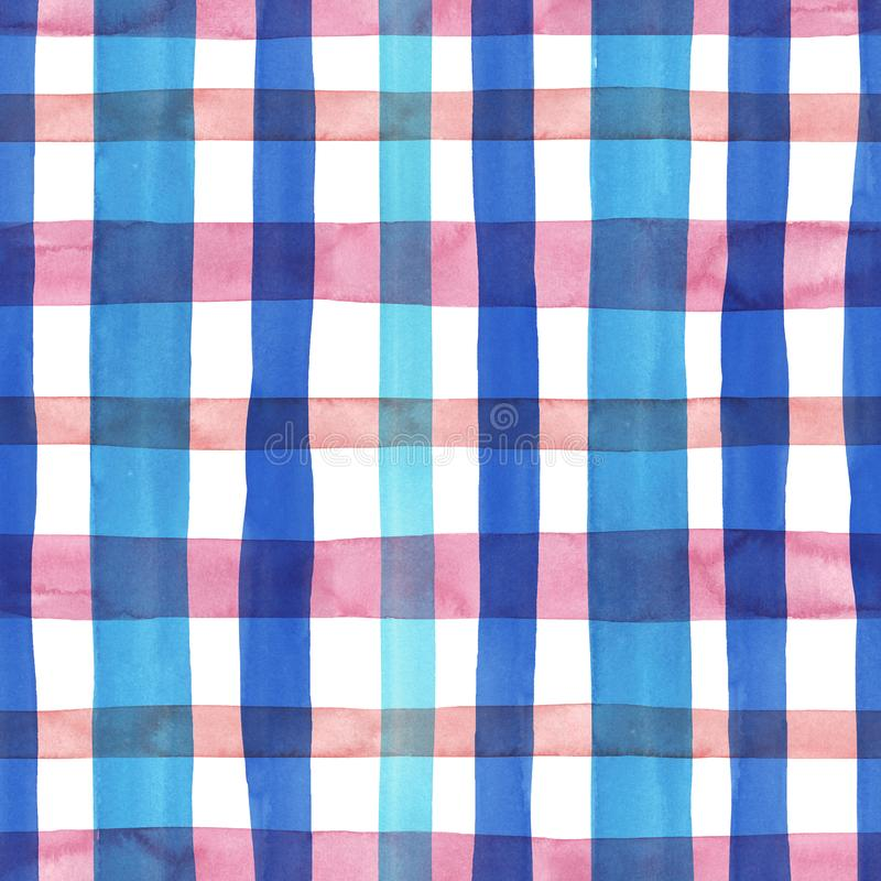 Bright pastel pink and blue plaid checkered seamless pattern. Watercolor stripes and lines on white background. Kilt print for royalty free illustration