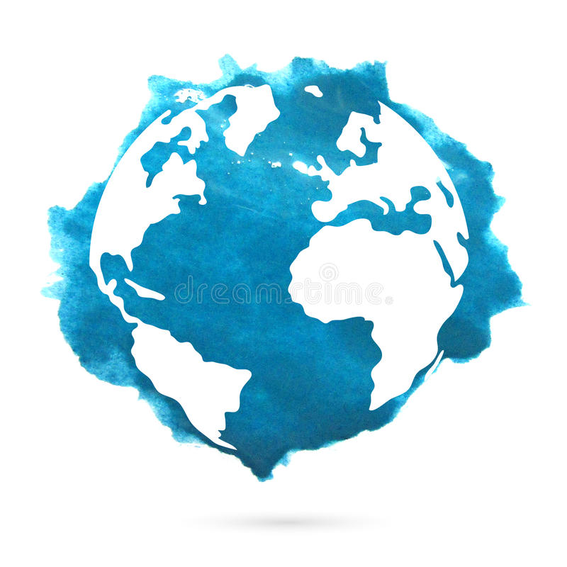 Watercolor planet earth on a white background. Watercolor blue planet earth on a white background. Beautiful abstract spot vector illustration