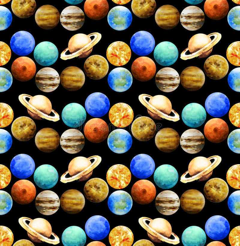 Watercolor planets pattern. Watercolor hand painted planets. Outer space seamless pattern royalty free stock image