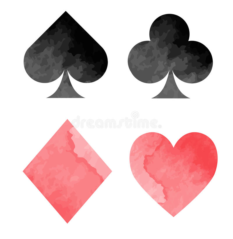Watercolor playing card suits set royalty free illustration