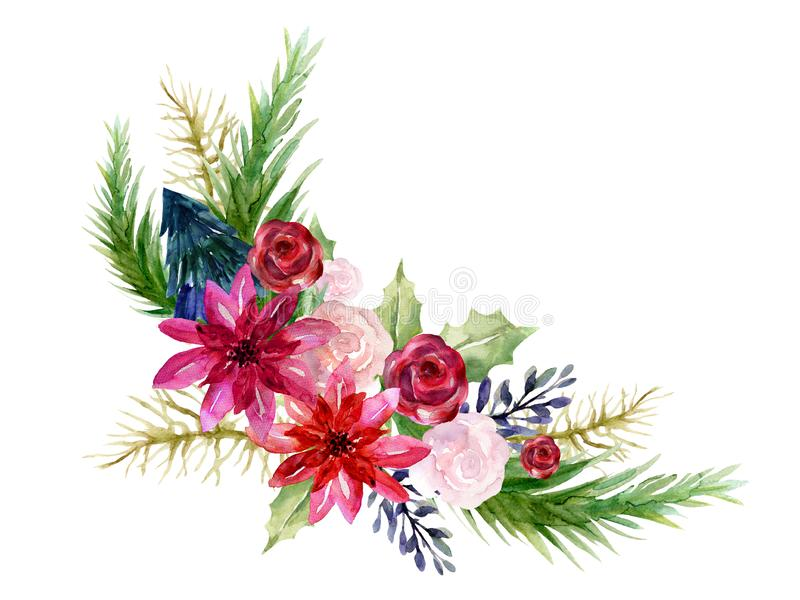 Watercolor poinsettia Hand painted winter Merry Christmas and Happy New Year isolated wreath bouquet illustration on white royalty free illustration