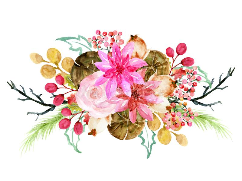 Watercolor poinsettia Hand painted winter Merry Christmas and Happy New Year isolated wreath bouquet illustration on white stock illustration